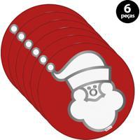 Capa Para Sousplat Mdecore Natal Papai Noel Vermelho 6Pçs