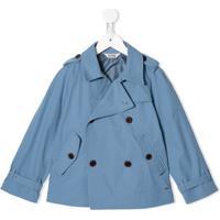 Fith Trench Coat Com Abotoamento Duplo - Azul