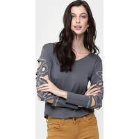 Blusa La Gata Recortes Com Aplicação - Feminino