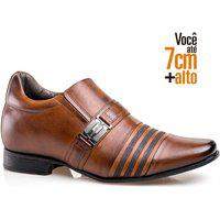 Sapato Social Rafarillo Masculino Salto 7Cm Ajuste Elástico Tabaco