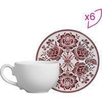 Conjunto De Xícaras De Chá Floral- Branco & Vermelhascalla Cerâmica
