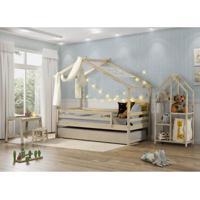 Quarto Infantil Bicama Prime Telhado V Estante E Escrivaninha - Casatema