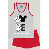 Pijama Infantil Mickey Regata Cinza Mescla