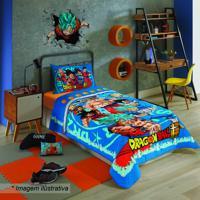 Edredom Dragon Ball Solteiro®- Azul Vermelho- 150Xlepper