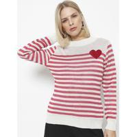 Blusa Em Tricot Listrada- Branca & Rosa- Ponto Aguiaponto Aguiar
