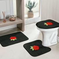 Jogo Banheiro Dourados Enxovais Standard Rosas 3 Peças Preto