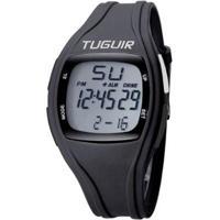 Relógio Pedômetro Tuguir Digital Tg1602P Masculino - Masculino-Preto