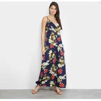 Vestido Edivi Longo Floral - Feminino-Marinho+Vermelho