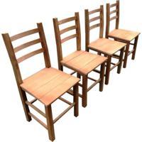 Kit 4 Cadeiras De Madeira Maciça Móveis Rústicos Bv Magazine