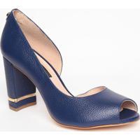 Peep Toe Em Couro - Azul Marinho- Salto: 8,5Cmjorge Bischoff