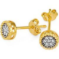 Brinco Em Ouro Galeria Trabalhada Com 14 Brilhantes - Br18003 Casa Das Alianças Feminino - Feminino-Dourado