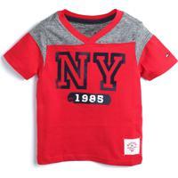 Camiseta Tommy Hilfiger Kids Menino Lettering Vermelha