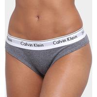Calcinha Tanga Calvin Klein Elástico Estampado - Feminino-Grafite