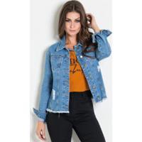 Jaqueta Jeans Vintage Com Puídos