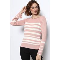 Blusa Em Tricã´ Listrada- Rosa Claro & Branca- Vip Revip Reserva