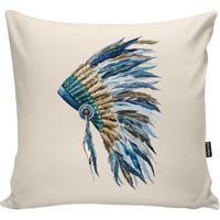 Capa Para Almofada Indians- Azul Claro & Bege Claro-Stm Home