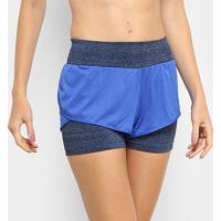 Short Adidas M Dual Feminino - Feminino-Azul+Preto