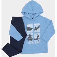 Conjunto Infantil Longo Pipa Helicóptero C/ Capuz Masculino - Masculino-Azul Claro