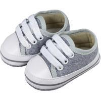 Tênis De Bebê Com Cadarço Jeans Cinza - Tricae