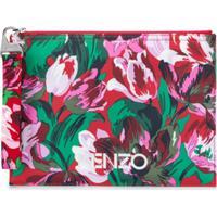 Kenzo Clutch Com Estampa Floral E Logo - Rosa