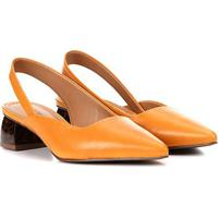 Scarpin Couro Loucos & Santos Slingback Chanel Salto Grosso Baixo Feminino - Feminino-Amarelo