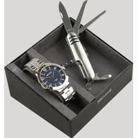 Kit De Relógio Analógico Seculus Masculino + Canivete - 28983G0Svna2K Prateado - Único