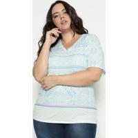 Blusa Abstrata - Azul Claro & Branca- Cotton Colors Cotton Colors Extra