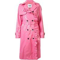 Msgm Trench Coat Com Acabamento De Babados - Rosa