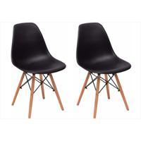 Kit Mpdecor 02 Cadeiras Eiffel Charles Eames Preta Com Base De Madeira Dsw