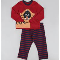 Pijama Infantil Tigre Manga Longa Gola Careca Vermelho