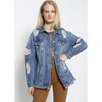Casaco Jeans Com Destroyed - Azul - Colccicolcci