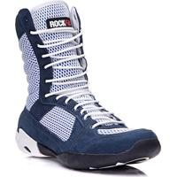 a1b6fbf0571 Bota De Treino Masculina Rockfit Jump Em Couro Azul E Branco