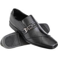 Sapato Social Euro Flex Couro Conforto Macio Leve Resistente Masculino - Masculino-Preto