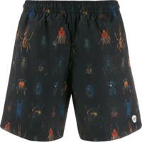 Alexander Mcqueen Shorts De Natação Com Logo Estampado - Azul