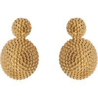 Par De Brincos Banhado A Ouro Texturizado- Dourado- Carolina Alcaide