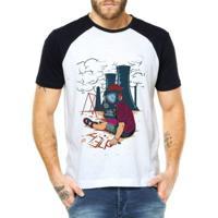 Camiseta Criativa Urbana Raglan Cidade Tóxica - Masculino-Branco
