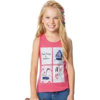 Blusa Rosa Estampa Veleiros Glitter Malwee Kids