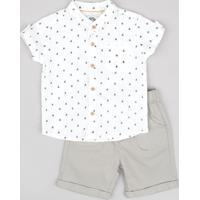 Conjunto Infantil De Camisa Em Linho Manga Curta Gola Portuguesa + Bermuda Com Bolsos Kaki