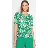 Blusa Com Vazado- Verde & Branca- Vip Reservavip Reserva