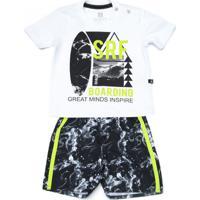 Conjunto Infantil Banana Danger Camiseta E Bermuda Microfibra Surf Branco 2db74980e6f95