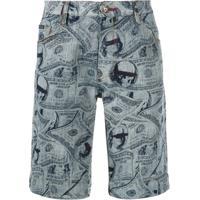 Philipp Plein Bermuda Jeans Com Estampa De Dólar - Azul