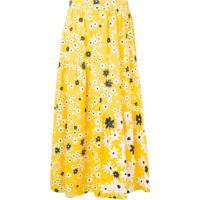 Chinti & Parker Saia Midi Floral Com Babado - Amarelo