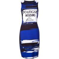 Boutique Moschino Vestido Midi Com Logo - Azul