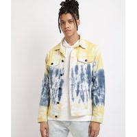 Jaqueta Masculina Em Sarja Estampada Tie Dye Com Recortes E Bolsos Amarela