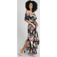 1f8f52b3e9 CEA  Vestido Feminino Longo Ciganinha Estampado Floral Com Fenda Preto