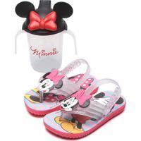 Chinelo Grendene Kids Infantil Minnie Com Copo Rosa