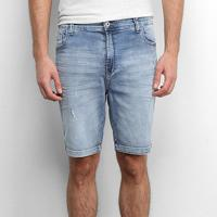 Bermuda Jeans Ellus Puídos Masculina - Masculino-Azul