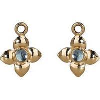 Pendente Para Hoop Flor De Topázio Azul - Gold Pendant Earring, Blue Topaz - 25 Cm