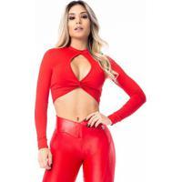 Blusa Cropped Com Recorte- Vermelhavestem