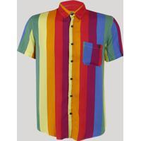 Camisa Masculina Arco Íris Com Bolso Manga Curta Multicor